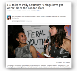 Student Journals talks to Polly Courtney: 'Things have got worse since the London riots' - http://www.studentjournals.co.uk/comment/britain/2197-tsj-talks-to-polly-courtney-things-have-got-worse-since-the-london-riots